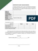 Formato de Inscripción para agentes y delegados municipales en Tlajomulco de Zúñiga