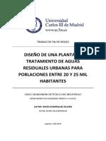 TFG Rocio DomiDISEÑO DE UNA PLANTA DE  TRATAMIENTO DE AGUAS   RESIDUALES URBANAS PARA  POBLACIONES ENTRE 20 Y 25 MIL HABITANTESnguez Ollero