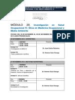 B.- Programa de Clases MSO VI - Módulo 20 Investigación en Salud Ocupacional IV