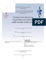Lutheran Veteran Certificate