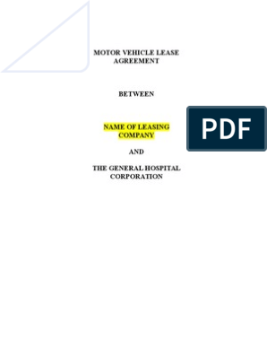 Vehicle Lease Agreement Template Lease Business Law