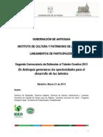 Lineamientos de Participación - Segunda Convocatoria de Estímulos Al Talento Creativo 2013