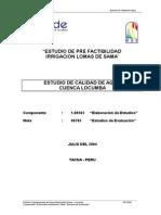 Calidad de Agua Locumba 2004