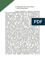 Sandor Ferenczi Élasticité de La Technique Psychanalytique1