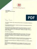Warsi Shapps Letter