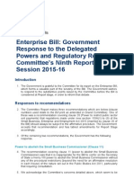 BIS 15 641 Government Response Enterprise Bill Delegated Powers and Regulatory Reform Committee