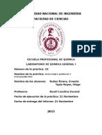 Informe de Química 1 - Estequiometría - Reacciones Químicas