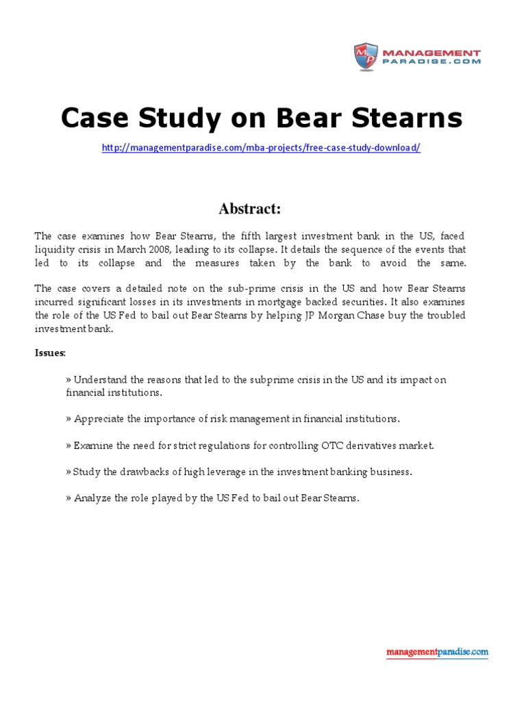 White Paper on Bear Stearns | Bear Stearns | Subprime Mortgage Crisis