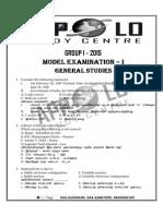 Group - i (Prliminary) Model Exam - 2015 Appolo