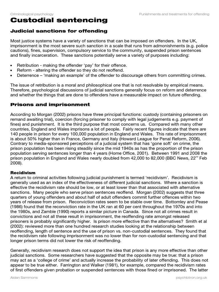 A2 Aqb Crim Imprisonment Recidivism Crime Justice