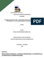 Informe de Pasantias Universitarias Ejemplo