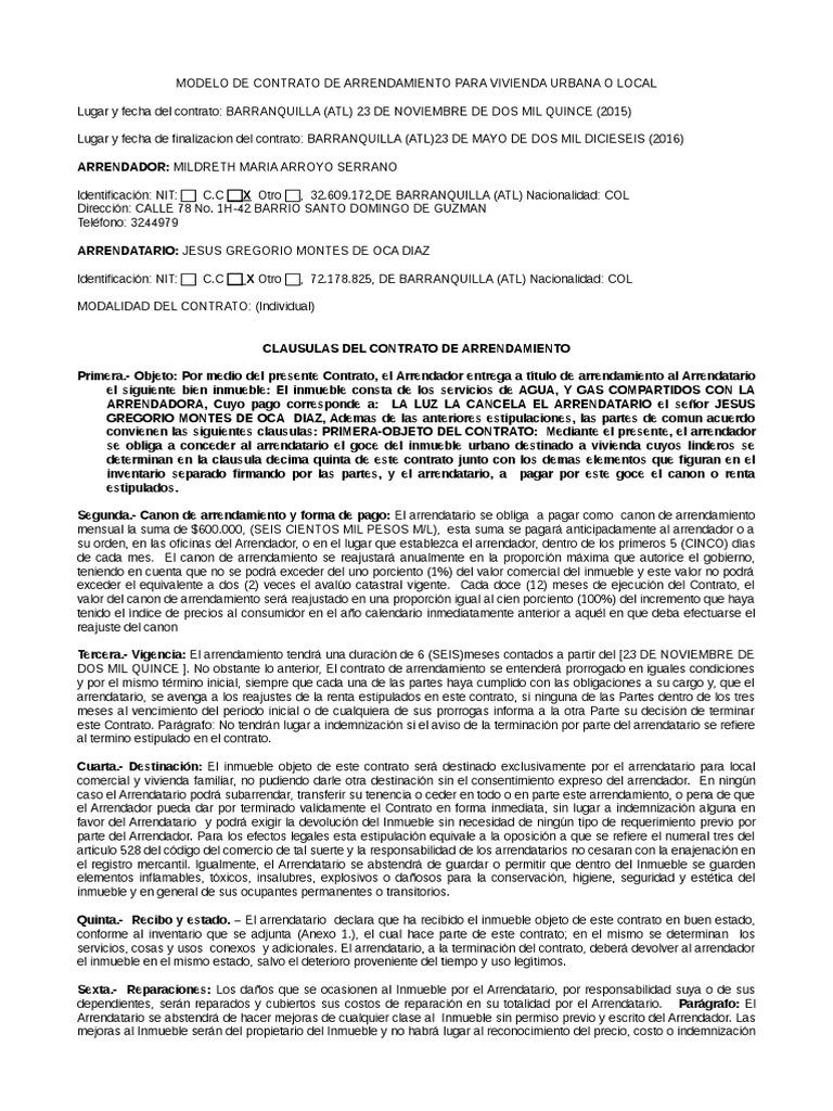 Modelo Contrato De Arrendamiento Panama UntitledContrato de alquiler ...