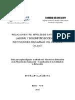 Relacion Entre Satisfaccion Laboral y Desempeño Docente- Antecedentes