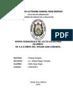 APOYO PEDAGÓGICO DE LECTO-ESCRITURA EN NIÑOS  DE 6 A 8 AÑOS DEL HOGAR SAN LORENZO