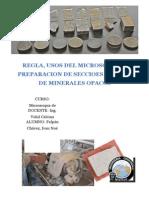 Reglas Para Uso DEL MICROSCOPIO Y PREPARACION DE SECCIOES PULIDAS DE MINERALES OPACOS