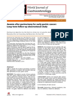 Anemia after gastrectomy for early gastric cancer