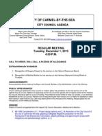 Regular Meeting Agenda 12-01-2015