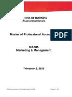 Final Assessment Details MA505 T2 2015 After Moderation