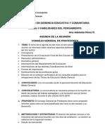 Agenda para el Consejo General de Profesores