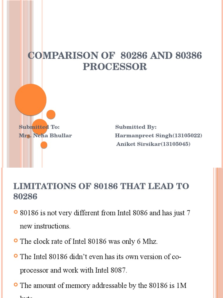 Comparison of 8086 and 80286
