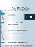 Ciencia, Tecnología, Sociedad y Valores Presentación