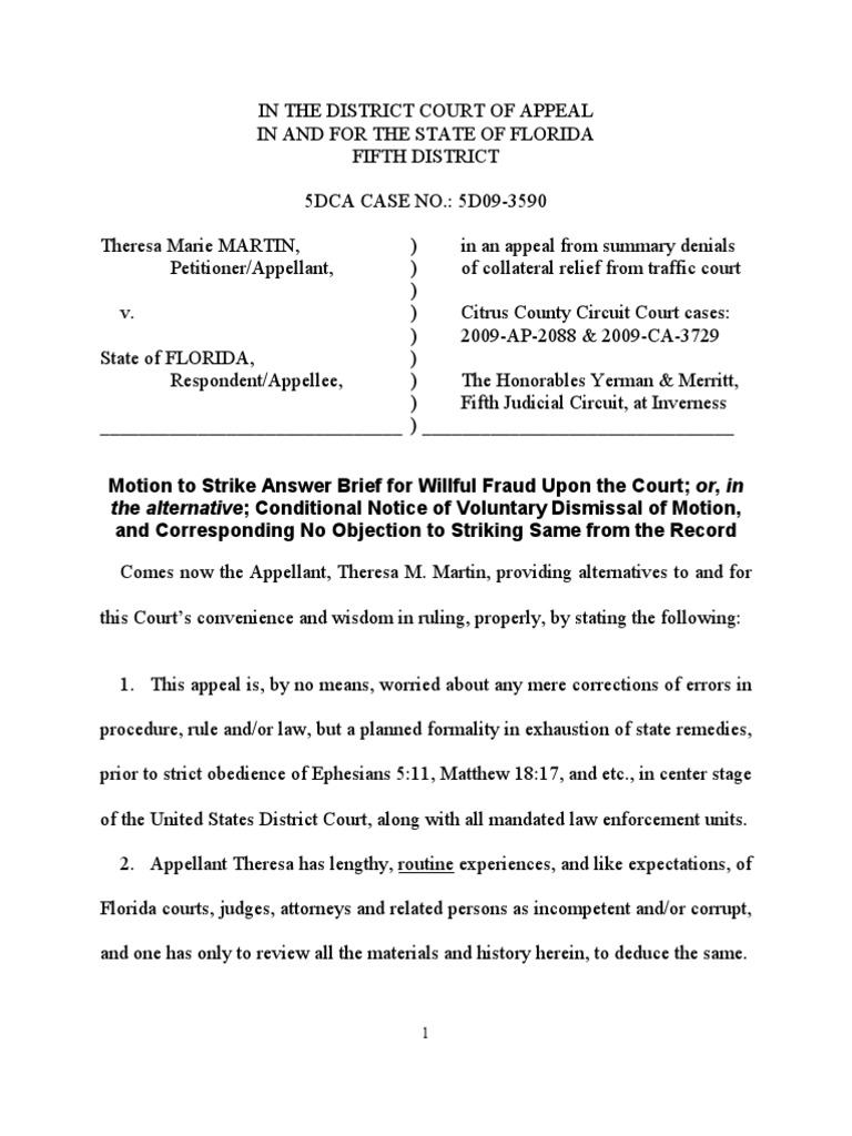 09-3590 Motion to Strike | Appeal | Fraud