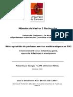 Hétérogénéités de performances en mathématiques au CM2