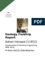 Fundamentals on petroeum engineering - Geology field trip Report