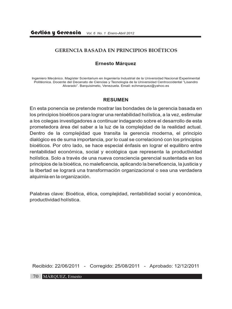 Gerencia Basada en Principios Bioeticos