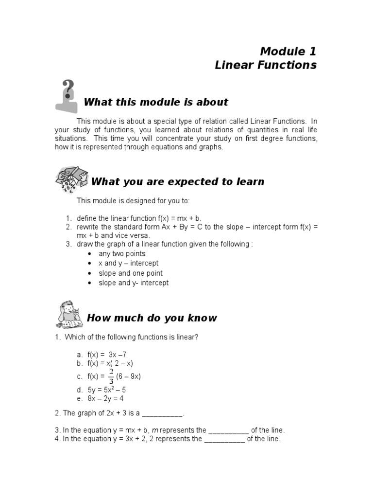 Module 1 linear functions line geometry algebra falaconquin