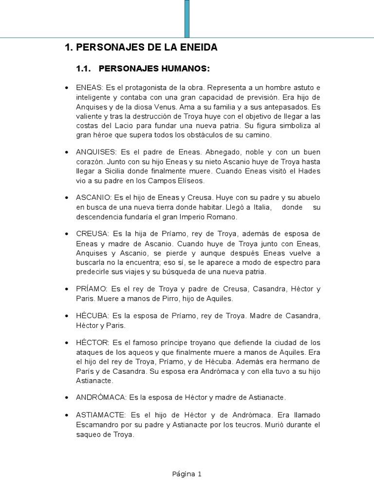 Personajes De La Eneida Eneas Héctor