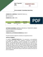 Reglamento de Higiene y Seguridad Industrial Transport Neiva s.A