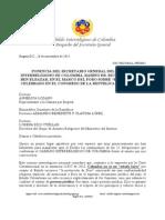 Ponencia del Sec. Gral. del Cabildo Interreligiso de Colombia en el Foro sobre Estado Laico. 26 de Noviembre, 2015.