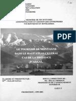 Le Tourisme en Montagne Dans Le Haut Atlas Central .Cas de La Province d'Azilal