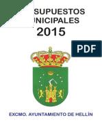 Presupuestos año 2015 ayuntamiento de Hellin