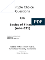 MCQ's of Basics of Finance MBA 831