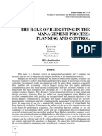 THE ROLE OF BUDGETING IN THE MANAGEMENT PROCESS