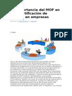 La Importancia Del MOF en Una Certificación de Calidad En