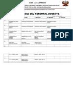 Horatrio Asistencia Del Personal Docente