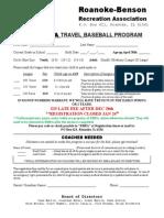 2016 Travel Baseball Registration