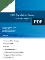Rexer Analytics 2013 Data Miner Survey Summary Report