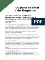 10 Pasos Para Evaluar Tu Plan de Negocios