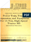 TM 9-1786B Power Train, Track Suspension and Equipment for 13-Ton High Speed Tractor M5 1944
