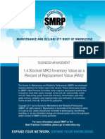 SMRP Metric 1.4 Stocked MRO Inventory Value as a Percent of Replacement Value (RAV)