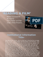 'Reading a Film' Coursework by Hasina
