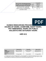 HRP-012(01) Hours of Work