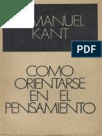 Immanuel Kant Como Orientarse en El Pens