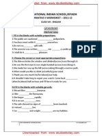 Class 8 English Worksheet - Grammer Prepositions