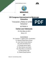 XXICongresoInternacionalMetalurgiaExtractiva Mexico-2012