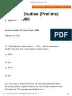 General Studies (Prelims) Paper- 1986